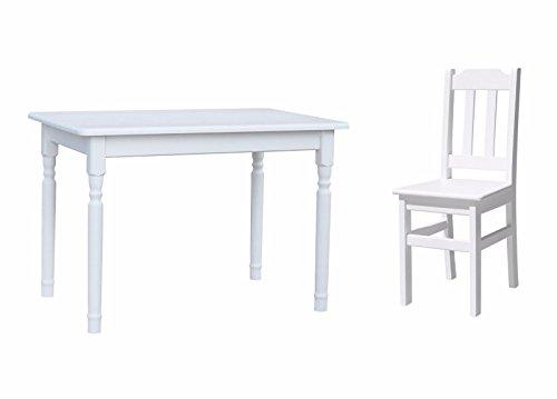 Unbekannt Essgruppe Kiefer Holz 120 cm x 70 cm Tisch und 4 Stühle Landhausstil (Weiß) (Ess-set Honig)