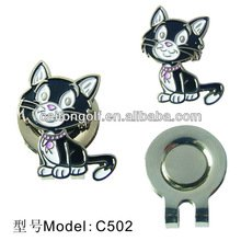 Cat Golf Ball Marker on Magnetic Clip