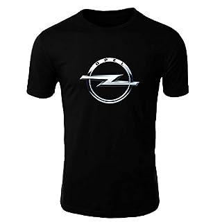 OPEL T-Shirt Logo Clipart Herren CAR Auto Tee TOP SCHWARZ WEIß Short Sleeves (SCHWARZ, L)