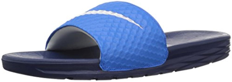 NIKE Men's Benassi Solarsoft Slide Sandal  Photo Blue/White/Binary Blue  10 D(M) US