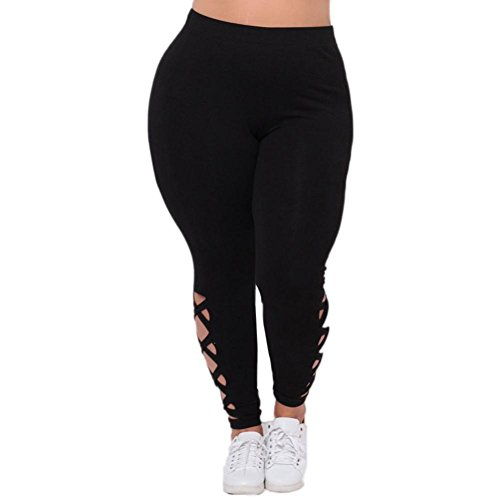 HARRYSTORE Damen Addition Size Elastische Leggings Solid Criss-Cross Hollow Out Muster Sport Yoga Hosen (EU: 44 (3XL), Schwarz)