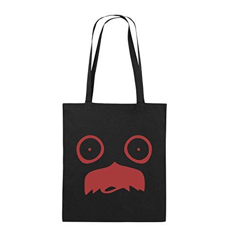 Comedy Bags - GESICHT SCHNURRBART - COMIC - Jutebeutel - lange Henkel - 38x42cm - Farbe: Schwarz / Silber Schwarz / Rot
