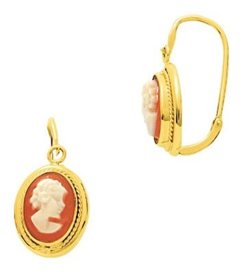 Orleo - REF10828BB : Boucles d'oreille Femme Or 18K jaune - Camée