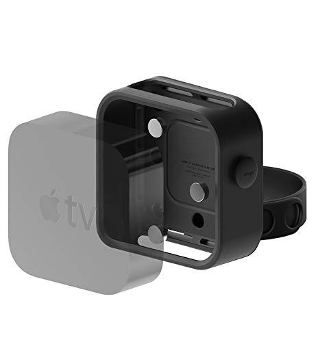 elago Multi Halterung kompatibel mit Apple TV [schwarz] - [DREI Montagemöglichkeiten: Magnet, Schraube, Band] [Einfache Installation]