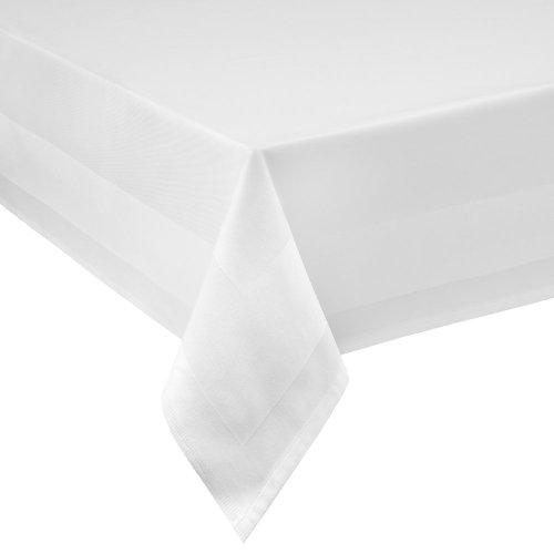 DecoHome Textil Nappe 100 % coton damassé avec rebord satiné 100 x 100 cm Eckig Blanc