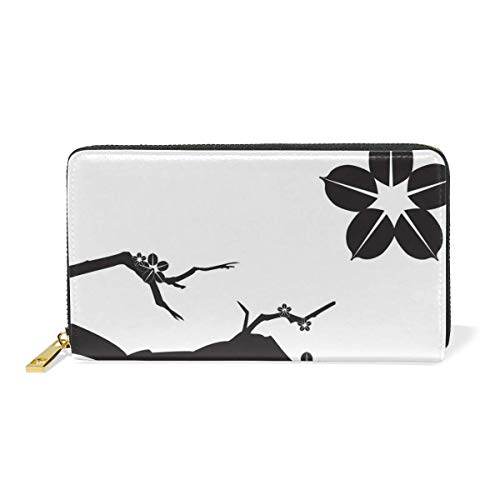 Agoyls Geldbörse Portemonnaie Dream Plum Blossom Luxury Genuine Leather Girl Zipper Wallets Clutch Coin Phone for Women -