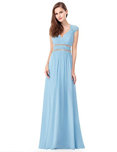Ever Pretty Damen Elegant V-Ausschnitt Ärmellos Lang Abendkleid 08697 Blau