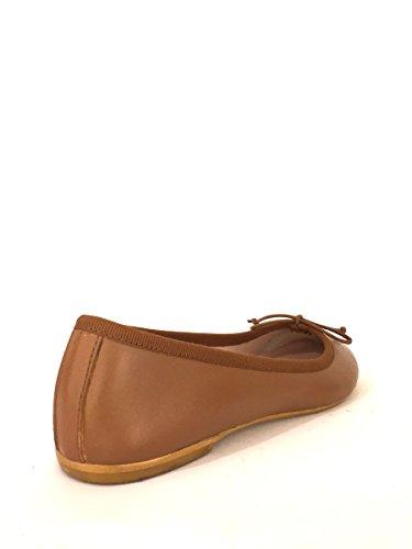 Ballerine in pelle VR532 tacco basso fiocco zeta shoes MainApps Cuoio