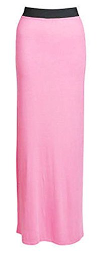 GRANDE TAILLE FEMMES NEUF JERSEY JUPE LONGUE GYPSY ROBE EXTENSIBLE GB 16-26 Rose clair