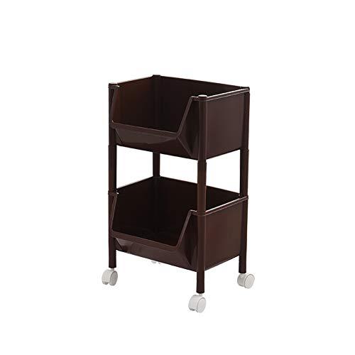 Z@SS 2-Tier Rolling Cart für die Bedienung von Versorgungs-Küchen-Warenkorb, Rolling Kitchen Storage Cart mit Regalen auf Rädern für Gemüse und Fruchtspeicher,Brown