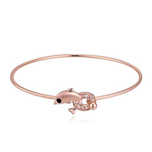 Beydodo Rose Gold Vergoldet Damen Armband (Armreif Armband),Österreich Kristall Delphin Weiß CZ Zirconia Rose Gold 5.5X5.5CM