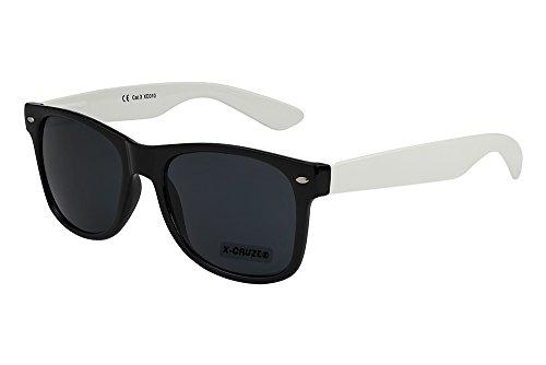 X-CRUZE® 8-081 X0 Nerd Sonnenbrille Retro Vintage Design Style Stil Unisex Herren Damen Männer Frauen Brille Nerdbrille - schwarz/weiß
