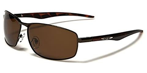 New Polarized X-Loop Men Rectangle Sport Driving Sunglasses Black Brown Smoke Lens Full UV400 UVA Protection Free BeachHutSunglasses microfibre pouch included (glossy copper/animal brown/brown lenses)