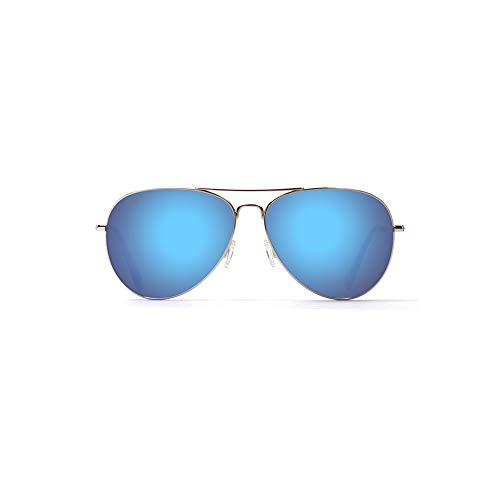 Maui Jim B264-17 silber Mavericks Aviator Sunglasses Polarised Lens Category 2 Lens Mirrored