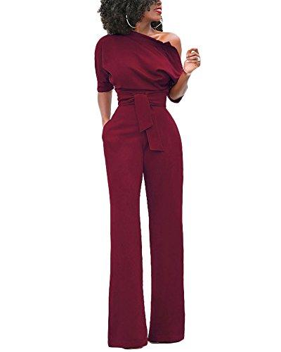 Donna cerimonia rompers tute lungo pantaloni senza spalline pagliaccetti puro colore partito di jumpsuit bodeaux l