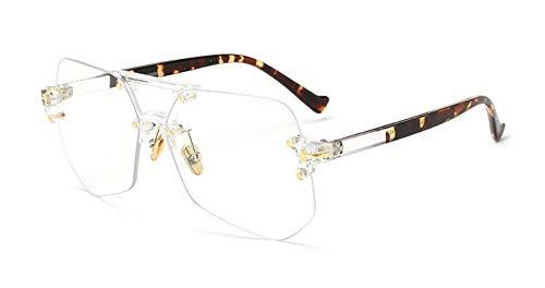 YYXXZZ Sonnenbrillen Männer Frauen Transparente Sonnenbrillen Lady Oversized Size Brillen, Durchsichtig