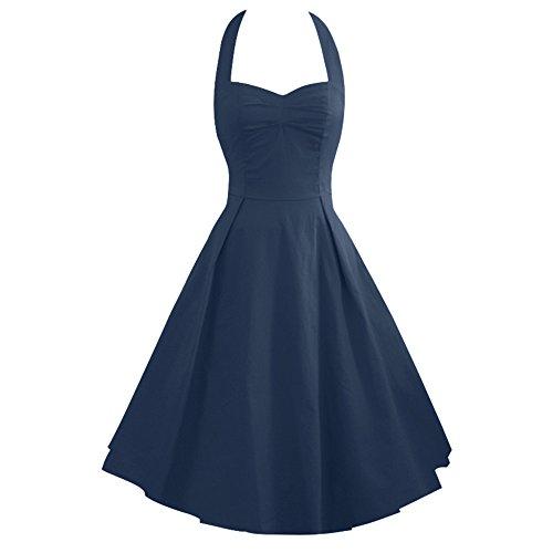 LUOUSE Damen 'Audrey Hepburn' Polka Dots Druck Holder Weinlese- Rockabilly Swing Abend Hochzeit Abschlussballkleid,NavyBlue,L