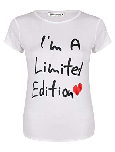 Janisramone Damen-T-Shirt mit Glitzerlippen, kurzärmelig, lässig, Jersey, Sommer-Top Gr. 46-48, Limited Edition White -