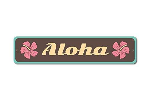Aersing Hochwertiges Aluminium-Schild Aloha Schild Hawaii Geschenk Hawaii Liebhaber Geschenk für Zimmer Wand Hof, Garage Zaun Gardern Deko (Metall-buchstaben-wand-dekor)