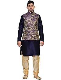 ec4ca2ff INYOUR Men's Silk Blue Gold Waiscoat,Dark Blue Kurta,Gold Pajama  Set_INYOUR-TR3147WCP