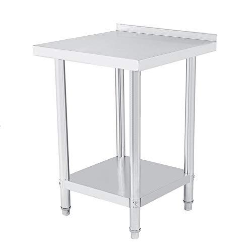 Arbeitstisch aus Edelstahl für Küche mit Bord, doppelt, höhenverstellbar, Catering, Arbeitstisch in Silber für Küche und Operationen
