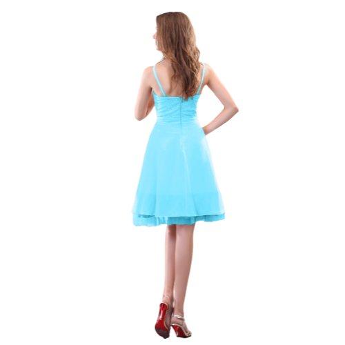Sunvary una linea abiti da damigella d'onore, lunghezza al ginocchio Homecoming abiti in Chiffon con perline Blue