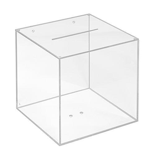 Las Votaciones transparente, con bordes umlaufen brillante, en el formato de 200x 200x 200mm, está fabricado con cristal acrílico transparente. la tapa está equipado con una ranura en 3x 120mm y en el cuerpo del caja de marcha. en las ranura pue...
