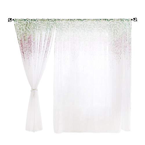 Prosperveil - tenda in voile con stampa a fiori di glicine, plissettata, in tulle, per soggiorno, camera da letto, decorazione per la casa, 200 cm purple