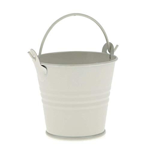 Goodplan Mini Eimer mit Griff Zinn Pralinenschachtel Eimer Anlage Eimer Souvenirs Geschenk für Hochzeit Baby Duschen Verwenden 1 STÜCKE Weiß