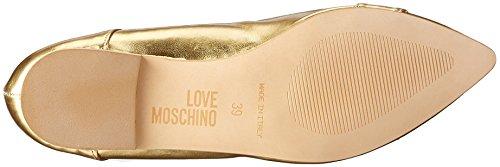 Scarpad Moschino ball10 Love Donna Ballerine Laminato Gold Oro PU Oro g71Zq