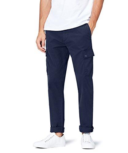 find. Pantaloni Cargo in Cotone Uomo, Blu (Navy), Large