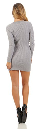 5284 Fashion4Young Damen Strick Kleid Feinstrick Minikleid Strickkleid Pullover V-Ausschnitt Damenstrickkleid Grau