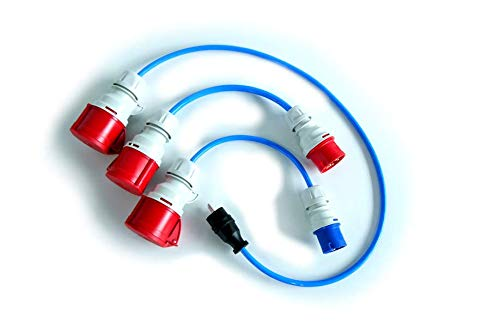 go-e GmbH 3-teiliges Adapterset CEE 16A (Rot & Blau) Schutzkontaktstecker -