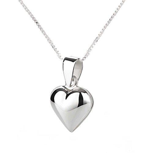 SL-Silver Set aus Kette und Anhänger Medallion Herz 925 Silber in Geschenkverpackung (Silver-medallion-anhänger)