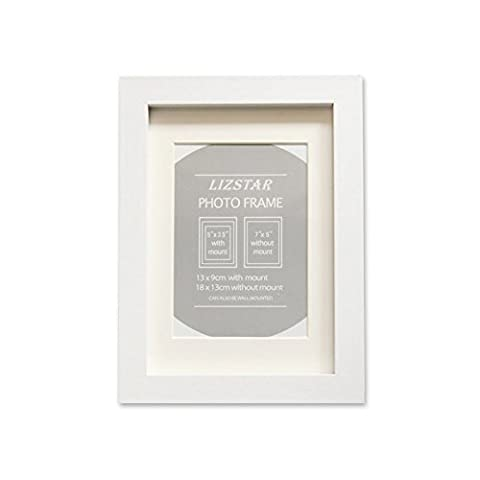 Liz Star Wooden Box frames Deep in Black/White/oak with Mounts for stand (8x10, white)