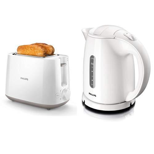 Philips HD2581/00 Toaster, integrierter Brötchenaufsatz, 8 Bräunungsstufen, weiß & Philips HD4646/00 Wasserkocher (1,5 Liter, 2400 Watt, Anti-Kalk), weiß