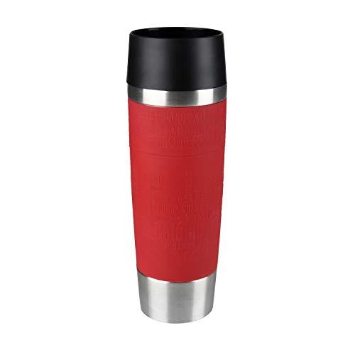 Emsa 515617 Travel Mug Standard-Design Grande, Thermobecher/Isolierbecher, 500ml, hält 6h heiß/ 12h kalt, 100% dicht, auslaufsicher, Easy Quick-Press-Verschluss, 360°-Trinköffnung, Farbe rot