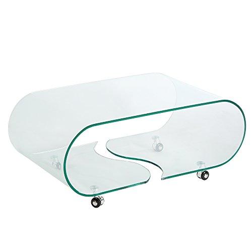Extravaganter Glas Couchtisch GHOST 90cm transparent Glastisch Tisch Wohnzimmer -