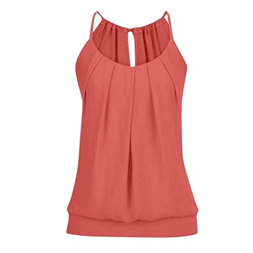 iHENGH Women Summer Loose Wrinkled O Neck Tank Tops Vest Blouse
