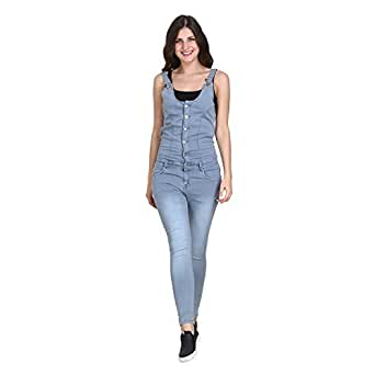 Broadstar Women's Denim Casual Dungaree (1350_28 _Ice Blue_ 28)
