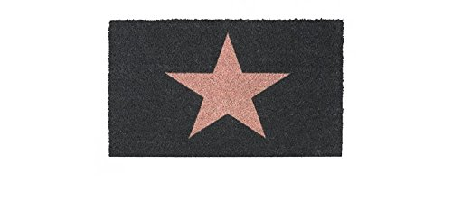Fussmatte / Fussmatte / Fußmatte / Schmutzabstreifer / Sauberlaufmatte / Türfußmatte / Fußabstreifer / Fußabtreter / Türmatte - Kokos - Kokosfussmatte - Stern - Stars - grau - mit rosa Stern - Größe : 45 x 75