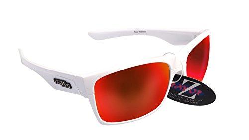 RayZor Professional leichte UV400White Sports Wrap Cycling Sonnenbrille, mit Ein rot Iridium verspiegelt Blendfreie Objektiv