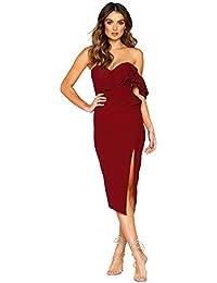 e6959d64c05d Longwu Women's Elegant Ruffle One Shoulder Side Split Sleeveless Sexy  Bodycon Party Club Midi Dress