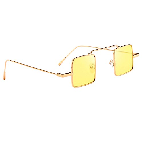 Sharplace Vintage Sonnenbrille quadratisches Design Retro Brille - Gold Frame Gelbe Linse