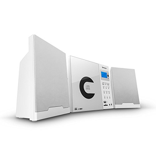 Mini-regal Cd-player (Auna MCD-74-DAB Micro-Anlage Mini Bluetooth Stereoanlage Kompaktanlage (MP3-CD-Player, DAB, Weckfunktion, USB, SD, AUX, Fernbedienung) weiß)