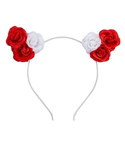 SIX Haarreif, Haarschmuck, Blumenkranz, Ohren, Blumen, weiß, rot, Kostüm, Karneval (315-709)