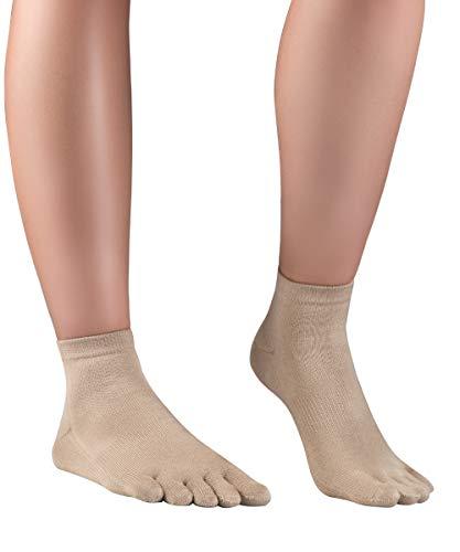 Knitido Kurze Seidensocken Silkroad, Kurze Zehensocken aus Seide, Größe:35-38, Farbe:Beige