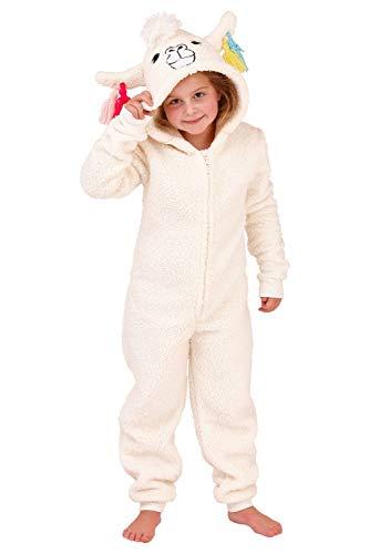 Kapuzen Kostüm Bademantel Kind - Mädchen Kinder mit Kapuze Einhorn Bademantel Einteiler Kostüm Nachtwäsche Kuschelig Weihnachten Geschenkidee - Lama, 110-116
