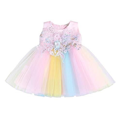 Party Kostüm Übergröße Stadt - Livoral Mädchen ärmelloses gestreiftes Regenbogen-Ballettröckchen-Blumenmädchen-Baby-Kleid-Prinzessin Birthday Party Beauty Apparel(Rosa,90)