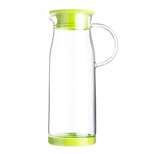 Teekessel Wasserkocher Hitzebeständige Explosionsgeschützte Wasserkocher Glas Wasserkocher Große Kapazität Saft Trinken Topf Kuh Transparent Milch Topf 1200 Ml (Color : Green, Size : 9.2 * 25cm)